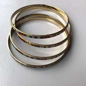 Jewelry - 4 red and blue and gold colored bangles